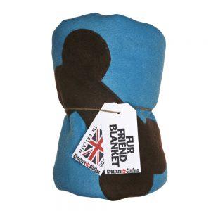 Fur Friend Fleecy Blanket - Bone - Choc on Turquoise