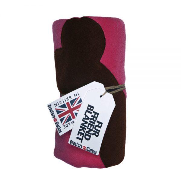 Fur Friend Fleecy Blanket - Bone - Choc on Pink