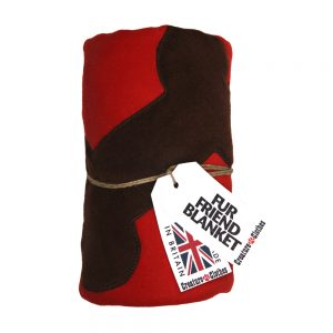 Fur Friend Fleecy Blanket - Bone - Choc on Red