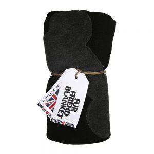 Fur Friend Fleecy Blanket - Bone - Grey on Black