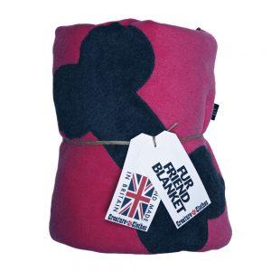 Fur Friend Fleecy Blanket - Bone - Grey on Pink