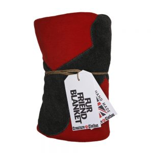 Fur Friend Fleecy Blanket - Bone - Grey on Red