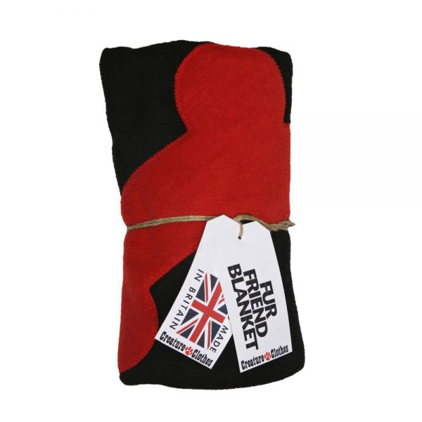 Fur Friend Fleecy Blanket - Bone - Red on Black