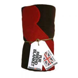 Fur Friend Fleecy Blanket - Bone - Red on Turquoise