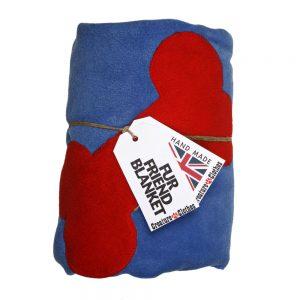 Fur Friend Fleecy Blanket - Bone - Red on Electric