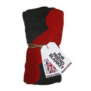 Fur Friend Fleecy Blanket - Bone - Red on Grey