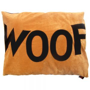 Spare Dog Doza Bed Cover with Big Old Choco WOOF on Tan