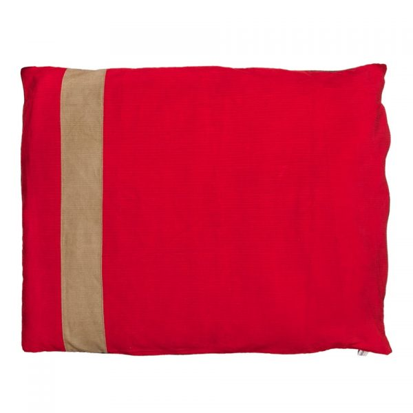 Dog Doza dog bed corduroy stripe in red and tan
