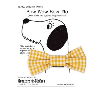 Yellow Gingham slip on Dog Bow Tie