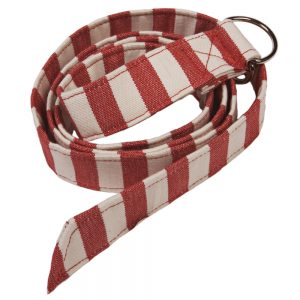 Fabric Belt - Suitable for Vegans - Red and White Stripe