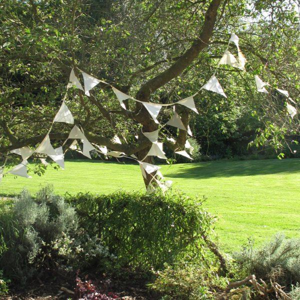 Reused Vintage Silk Bunting - Whites