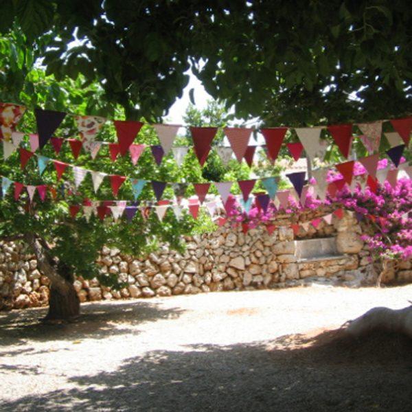 Reused Vintage Silk Bunting - Colourful