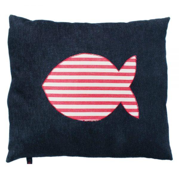 Cat Nappa - Fish - Red White Stripe on Denim