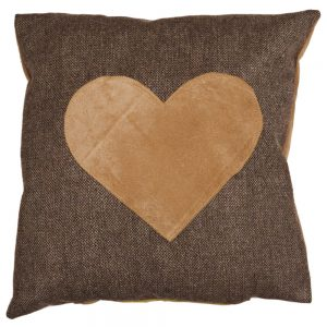 Cushion with Applique Faux-Suede Heart on Bark Wool