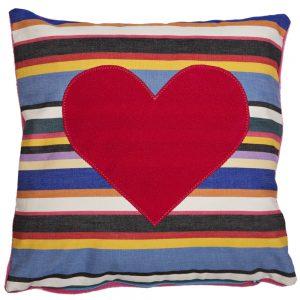Heart Cushion - Pink on Pink Deckchair Stripe