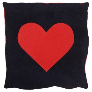 Heart Cushion - Red on Navy Faux-Suede