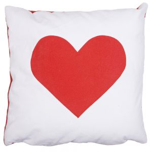 Heart Cushion - Red on White Faux-Suede