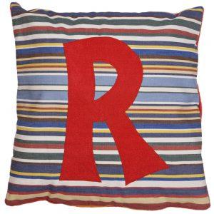 Initial Cushion - Red on Blue Deckchair Stripe
