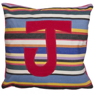 Initial Cushion - Pink on Pink Deckchair Stripe
