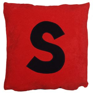 Initial Cushion - Navy on Red Faux-Suede