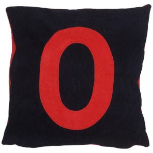 Initial Cushion - Red on Navy Faux-Suede