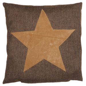 Cushion with Applique Faux-Suede Star on Bark Wool