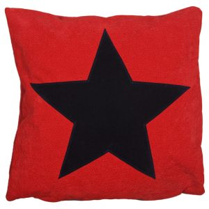 Star Cushion - Navy on Red Faux-Suede