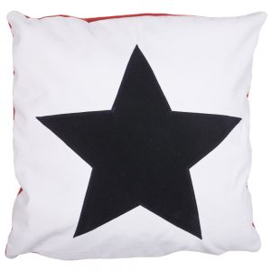 Star Cushion - Navy on White Faux-Suede
