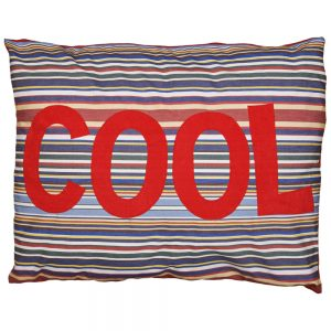 Kids Floor Cushion - COOL - Red on Blue Deckchair Stripe