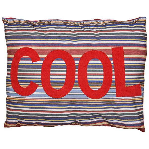 Kids Floor Cushion - COOL - Red on Blue Deckchair Stripe