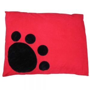 Dog Doza - Corner Paw - Black on Red