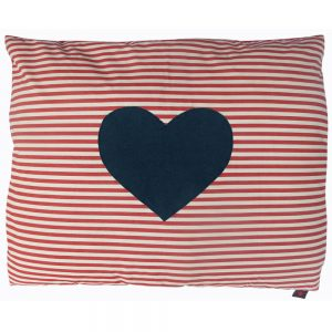 Dog Doza - Heart - Denim on Red White Stripe