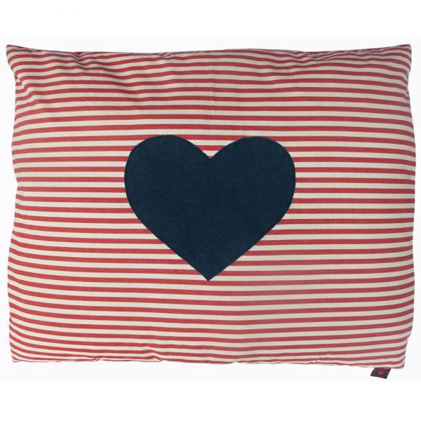 Dog Doza - Heart - Denim on Red White Stripe