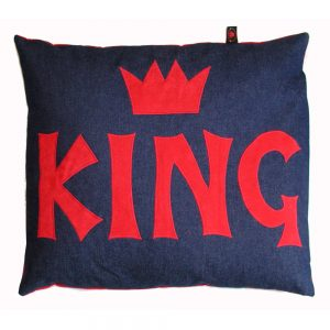 Kids Floor Cushion - King - Red on Denim