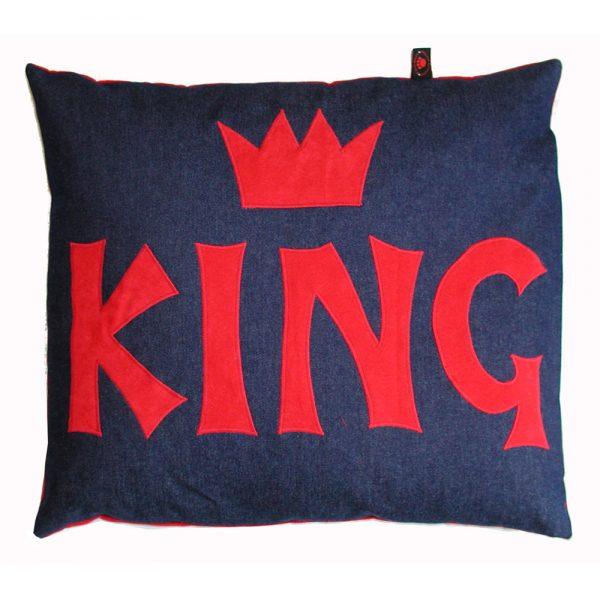 Kids Floor Cushion - King - Red on Denim