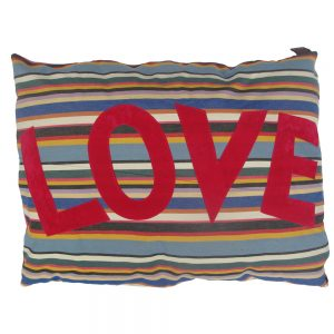 Kids Floor Cushion - LOVE - Pink on Pink Deckchair Stripe