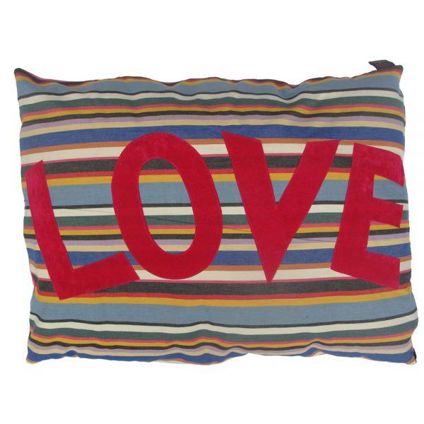 Kids Floor Cushion - LOVE - Pink on Pink Deckchair Stripe