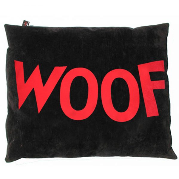 WOOF Dog Bed Cover - Big Old Ladybug WOOF - Red on Black Replacement Cover