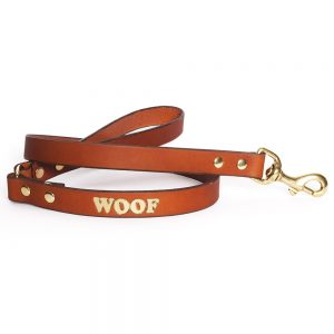 Leather Embossed WOOF Dog Lead - Tan with Gold