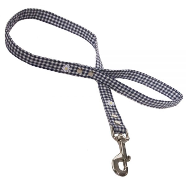 Blue Gingham Fabric Dog Lead with Daisies