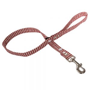 Red Gingham Fabric Dog Lead  with Daisies