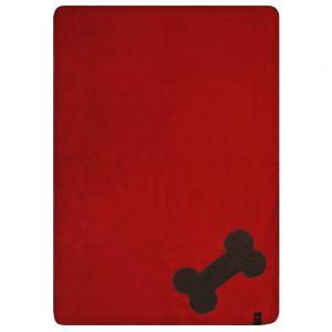 Fur Friend Fleecy Blanket - Bone - Choc on Red