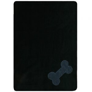 Fur Friend Fleecy Blanket - Bone - Grey on Black