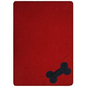 Fur Friend Fleecy Blanket - Bone - Grey on Red