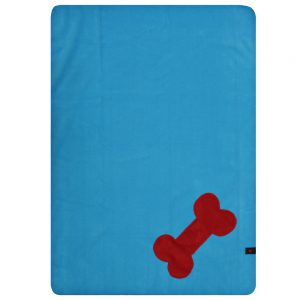 Fur Friend Fleecy Blanket - Bone - Red on Turquoise
