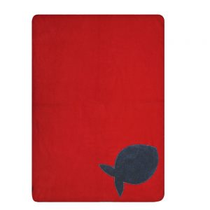 Fur Friend Fleecy Blanket - Fish - Grey on Red