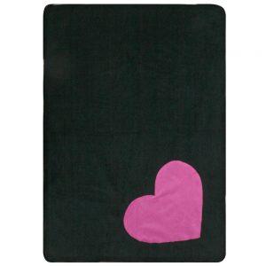 Fur Friend Fleecy Blanket - Heart - Pink on Black