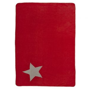 Fur friend fleecy red blanket for dogs with stone star