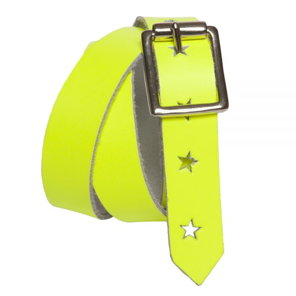 Neon Yellow Leather Belt with Stars