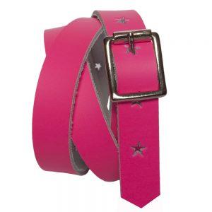 Neon Pink Kids Belt with Stars